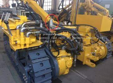 the position of Air pressure regulator (Rotation) P/N: 841001553 for Ingersoll Rand CM351 DTH pneumatic crawler drilling rig
