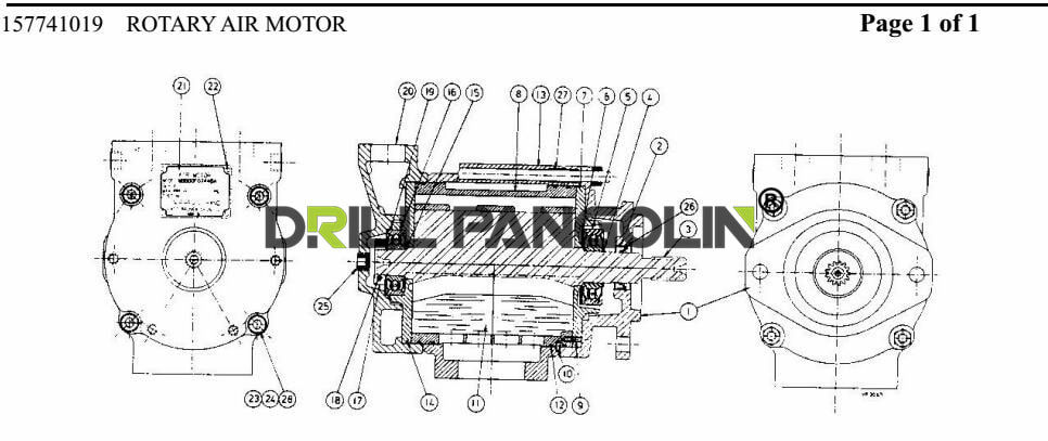 technical drawing of rotary air motor Ingersoll Rand CM351 with pn 01242247